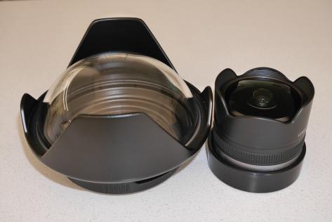 Panasonic 8mm Fisheye and Nauticam 4.33